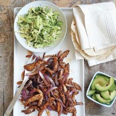 Chicken Fajitas with Savoy Cabbage Slaw