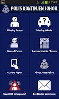 Screenshot of Polis Johor e-Alerts App