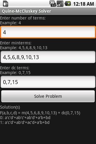 Quine-McCluskey Solver
