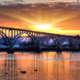 Sunrise on the Bay  by Dana Walker - Buildings & Architecture Bridges & Suspended Structures ( oregon, bay, pacific ocean, architecture, sunrise, bridge, landscape )