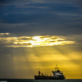 SHIP by Azad Nechikkade - Transportation Boats ( water, nature, waterscape, ship, sunset, waves, sea, sunshine, transportation, boat, evening, sun )