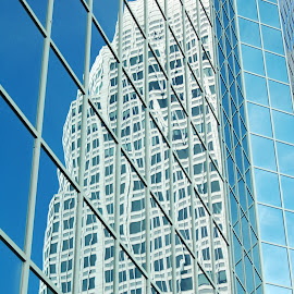 Building Reflections by Tony Moore - Buildings & Architecture Architectural Detail ( abstract, building, reflection, winston, windows, city, angles, archatecture, skyscraper, buildings, glass, downtown, tall )