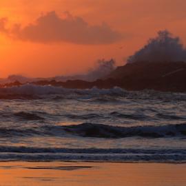 Sunset Splash by Mina Thompson - Landscapes Sunsets & Sunrises ( oregon, bastendorf beach, nature, splash, waves, sunset, beach )