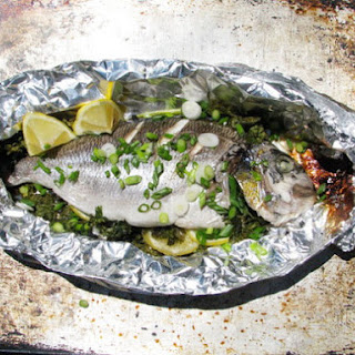 Roast Fish Stuffed with Lemon and Herbs