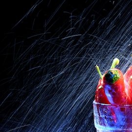 Let's cool it down by Vineet Johri - Food & Drink Fruits & Vegetables ( water, vkumar, water drops, splash, artisitic objects workshop london, chillie, water splash )