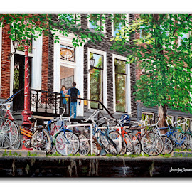 Les vélos d'Amsterdam by Jonguy Demontigny - Painting All Painting