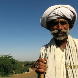 sands of time by Sudhir Bhardwaj - People Portraits of Men ( sands, time, desert, gujarat, old man, india, kutch, cattle, herding )