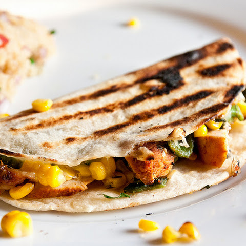 Grilled Chicken, Corn and Poblano Quesadillas