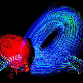 by Judy Rosanno - Abstract Light Painting ( black background, abstract, light painting, abstract art, red and blue, light,  )
