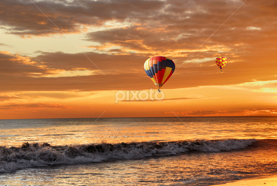 Ballooning  by Loredana  Smith - Landscapes Travel ( splash, dune, solitude, beach, travel, remote, sky, nature, surf, climate, tourism, leisure, balloons, tourist, traveling, serene, australia, scene, air, view, culture, panoramic, shore, australian, tropical, ocean, beauty, landscape, coastline, romance, coast, escape, sun, tranquil, sunny, idyllic, water, sand, seashore, waves, trace, sea, seascape, relaxation, vacations, paradise, deserted, enjoyment, flight, color, sunset, summer )