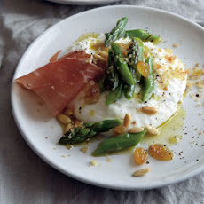 Burrata with Asparagus, Pine Nuts, and Golden Raisins Recipe