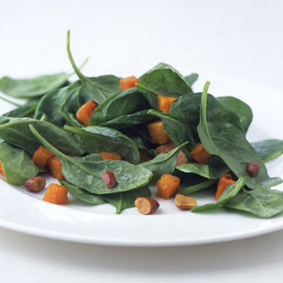 Roasted Butternut Squash and Spinach Salad with Toasted Almond Dressing