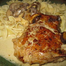 Stuffed Pork Chops in Mushroom Cream Sauce