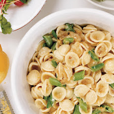 Orrechiette with Caramelized Onions, Sugar Snap Peas, and Ricotta Cheese