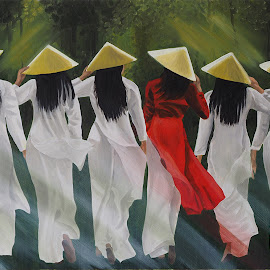 Les filles en robe Ao Dai et chapeau pointu  by Jonguy Demontigny - Painting All Painting