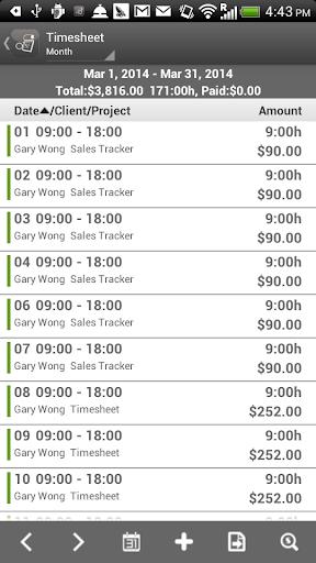 Timesheet (Paid) - screenshot