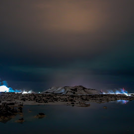 The Blue Lagoon at night. by Hafsteinn Kröyer Eiðsson - Landscapes Waterscapes ( suðurnes, mountain, night shots, eos, night photography, cold, geothermal, reykjanes, snow, blue lagoon, health spa, night sky, spa, lake, health, iceland, night photo, grindavík, lave field, public place, night shot, nightscapes, canon, waterscape, night lights, canon eos, lights, nighttime, rocks, canon eos 650d, nightlife, clouds, samyang, night scene, aurora, cloudscape, night time, lava rocks, 10mm, keflavík, nightscape, geothermal energy, landscpe, lave, night view, urora borealis, south, night, reykjanes peninsula, samyang 10mm, steam )