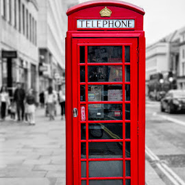 London Phone Booth by Ellen Yeates - City,  Street & Park  Street Scenes ( austin, canon, old, london phone booth, europe, intermediate class, relax, black and white )