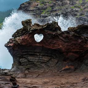 Heart Rock Splash, @ Maui Hawaii by Jeanne Knoch - Nature Up Close Rock & Stone (  )