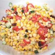 Creamy Cherry Tomato Salad with Fresh Basil, Corn and Onion
