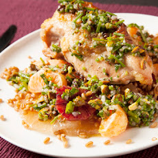 Roasted Chicken with Herb Salsa, Citrus & Wheat Berries
