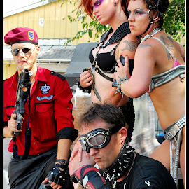 Sci-fi Gang by Phil Grierson - People Musicians & Entertainers ( girls, guns, future, sci-fi, group, guys )