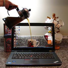 Coffee Break by David Knox-Whitehead - Digital Art Things ( mug, screen, pc, coffee, laptop,  )