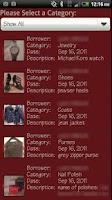 Screenshot of Clothing/Item Tracker