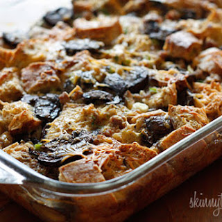 Make-Over Breakfast Sausage and Mushroom Strata