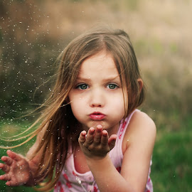 Glitter by Kayla Harris - Babies & Children Child Portraits ( field, wind, blown, glitter, sun, eyes )
