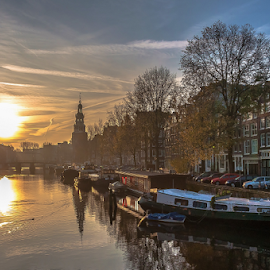 Sunset in Dreamland! by Jesus Giraldo - City,  Street & Park  Historic Districts ( reflection, colors, sunset, boats, buildings, amsterdam, channel, sun, city,  )