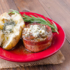 Smoked Filet Mignon Wrapped in Applewoood Bacon with Herbed Butter and Gorgonzola Cheese