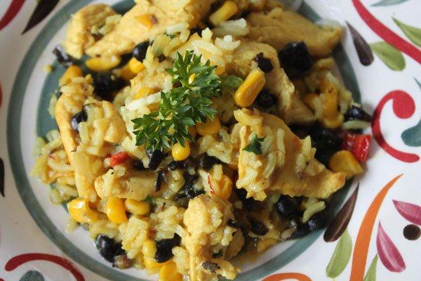 Chicken, Rice & Black Bean Stir Fry