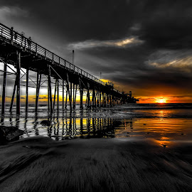 Behind the Dark Sky by Lance Emerson - Landscapes Beaches ( oceanside, black and white, sunset, ocean, beach, storm, stormy, weather )