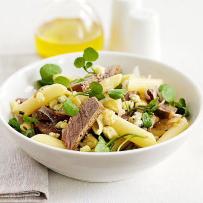 Penne with griddled steak, Stilton & shallots