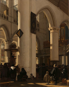 RIJKS: Emanuel de Witte: Interior of a Protestant, Gothic Church during a Service 1669