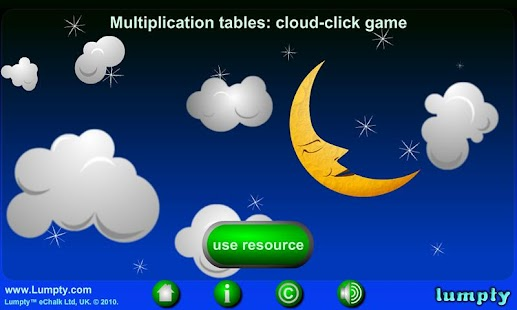 Times table cloud click game - screenshot
