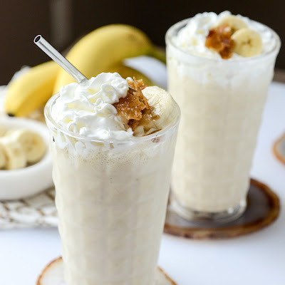 Caramelized Banana Bourbon Milkshakes