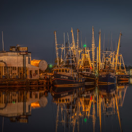 Fuel Dock Trio  by BeKKa - Digital Art Places ( bayou labatre, reflections, alabama, night shoots, shrimpboats )