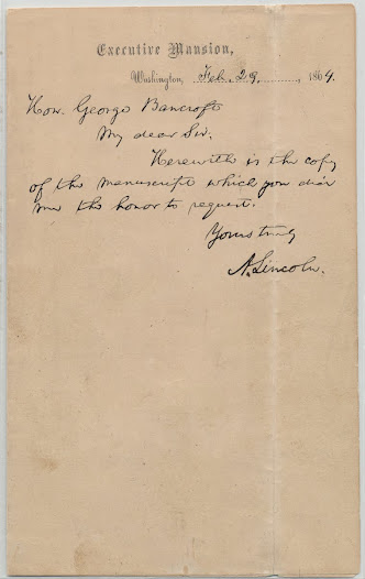 Abraham Lincoln. Autograph Letter to George Bancroft. Washington D.C. February 29, 1864.