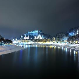Salzburg by Pavle Peric - City,  Street & Park  Skylines ( winter, salzburg, austra, architecture, landscape, city,  )