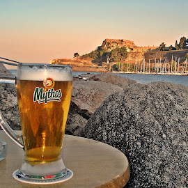 a greek beer by Dobrin Anca - Food & Drink Alcohol & Drinks ( holiday, beer, greece, sea, sun,  )