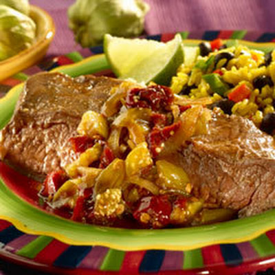 Toasted Garlic & Tomatillo Smothered Skirt Steak