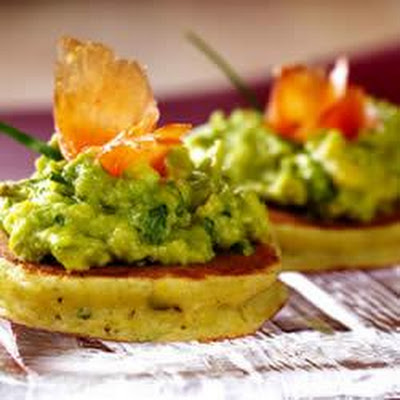 Mini Corncakes with Basil, Avocado Spread and Smoked Salmon