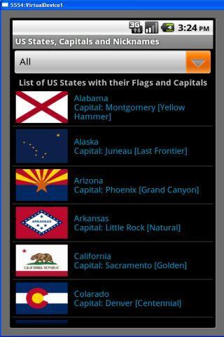 US States Capitals Nicknames