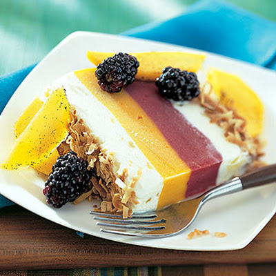 Frozen Tropical Terrine with Mango-Blackberry Sauce