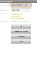 Screenshot of pakkespor - Sporing hos Posten