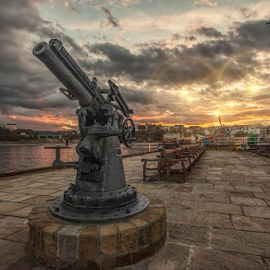 Scarborough Lighthouse and gun by Steve BB - City,  Street & Park  Skylines ( clouds, ww2, scarborough, hdr, sunset, harbour, lighthouse, jetty, gun )