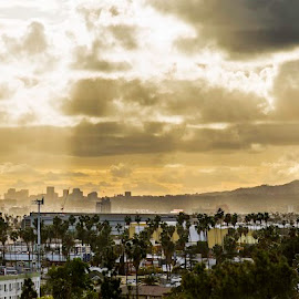 Hollywood and West LA by Art LA - City,  Street & Park  Skylines ( clouds, socal, fine art photography, hollywood, los angeles, storm, fine art print, panorama )