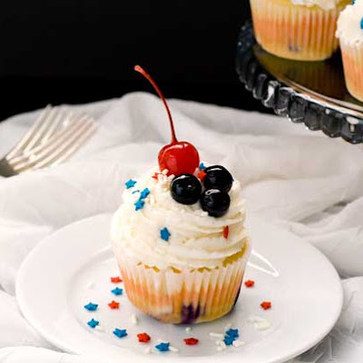Gluten Free Red, White & Blueberry Cupcakes